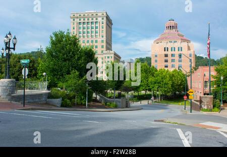 Asheville North Carolina Pack Square skyline in park - Stock Photo