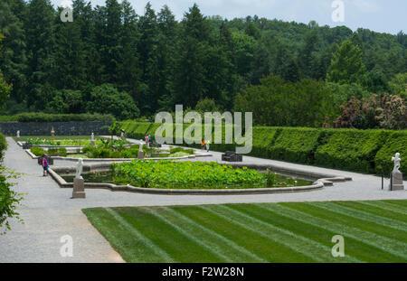 Asheville North Carolina gardens of historic Biltmore Estate home of Vanderbilt in 1895 largest private home in - Stock Photo