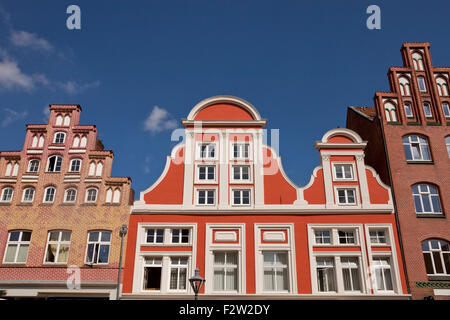 Gabled houses, Platz Am Sande, square in the historic centre, Hanseatic city of Lüneburg, Lower Saxony, Germany, - Stock Photo