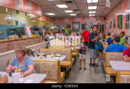 Shawnee Oklahoma OK famous old restaurant Hamburger King built in 1927 with phones at tables to order food - Stock Photo