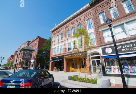 Concord New Hampshire NH downtown city center with cafes on Main Street in Capital city - Stock Photo