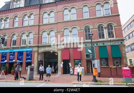 Canada Saint John New Brunswick famous City Market exterior at Kings Square - Stock Photo