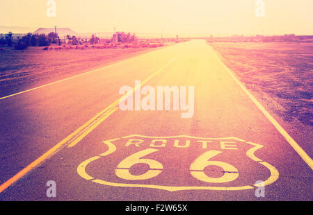 Vintage filtered sunset over Route 66, California, USA. - Stock Photo