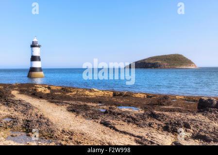 Trwyn Du Lighthouse, Puffin Island, Wales, United Kingdom - Stock Photo