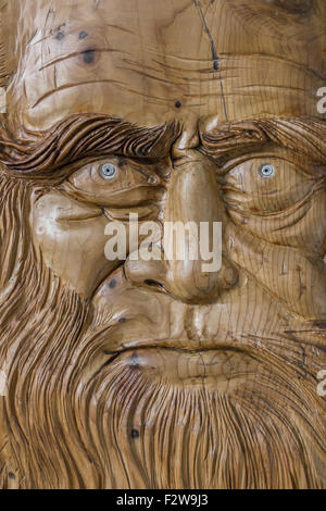 Carving in wood, with warm colors and soft, of Leonardo Da Vinci. - Stock Photo