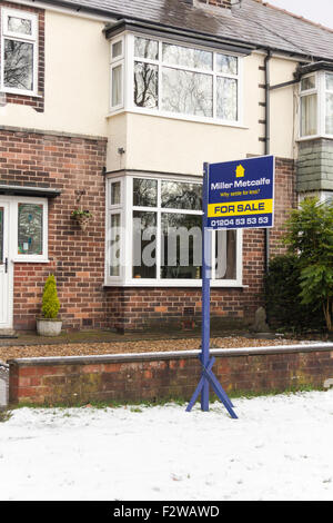 Semi-detached house in Bolton, north-west England up for sale in winter,  traditionally a slow time for house sales. - Stock Photo