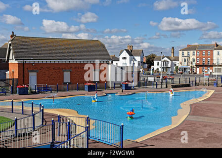 Childrens' paddling pool in Sutton on Sea,Lincolnshire,UK - Stock Photo