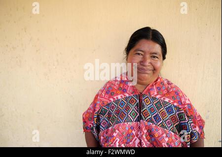Maya indigenous woman in traditional clothing in Nahuala, a K'iche' Maya village in Solola, Guatemala. - Stock Photo
