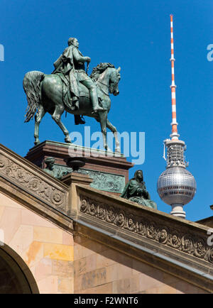 View from the Museum Island to the television tower in Berlin - Stock Photo