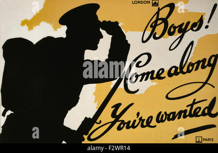 World War One recruiting poster.  Boys! Come Along You're Wanted. - Stock Photo
