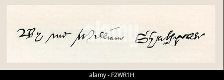 Signature of William Shakespeare, 1564 - 1616.   English poet, playwright, dramatist and actor.