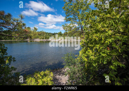 The beautiful Point Au Roche State Park in Upstate NY - Stock Photo
