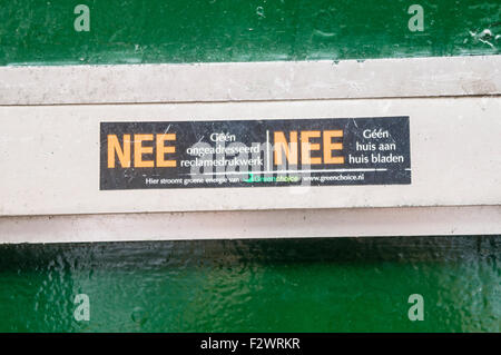 Sign on a letterbox in Amsterdam opting out of junk mail. - Stock Photo