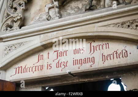 Writing above the entrance to St. Martin's Cathedral, Utrecht - Stock Photo