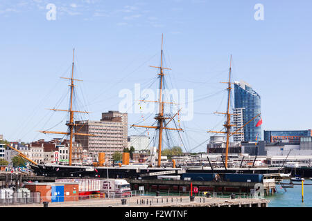 HMS Warrior (1860)  Britain's first iron-hulled, armoured warship now in Portsmouth Historic Dockyard, Portsmouth, - Stock Photo