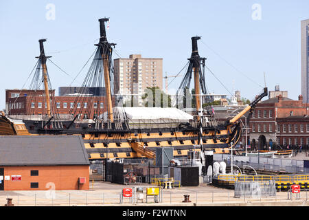 HMS Victory ( Lord Nelson's flagship at the Battle of Trafalgar in 1805) in Portsmouth Historic Dockyard, Portsmouth, - Stock Photo