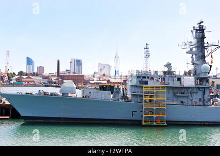 HMS Kent a Type 23 Duke class frigate of the British Royal Navy at Portsmouth Naval Base. Hampshire UK - Stock Photo
