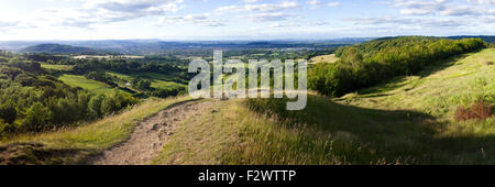 A panoramic view looking NW from the top of Painswick Beacon, Gloucestershire UK - Stock Photo