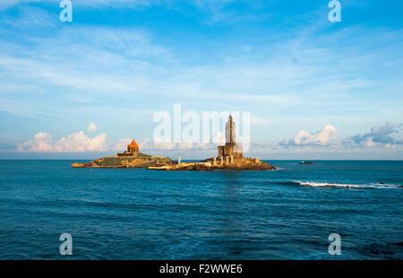 Stock photo Kanyakumari Sea, Vivekananda Rock, Thiruvalluvar Statue and Beautiful Blue Sky Blue Sea, Tamilnadu, - Stock Photo