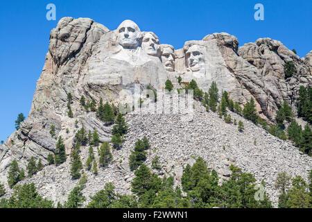 A view of Mount Rushmore National Memorial, South Dakota. - Stock Photo