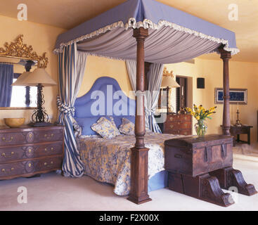 Blue drapes on four poster bed with a blue upholstered head board in Spanish bedroom with an antique chest - Stock Photo