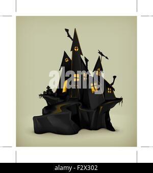 Halloween, witch castle vector silhouette - Stock Photo