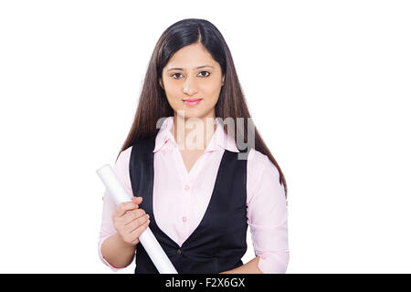 1 indian Architect Woman standing - Stock Photo