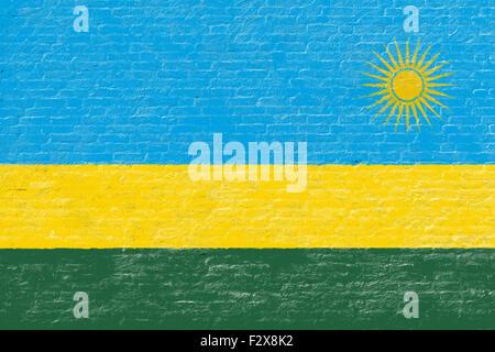 Rwanda - National flag on Brick wall - Stock Photo