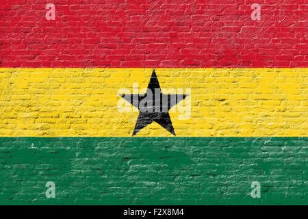 Ghana - National flag on Brick wall - Stock Photo