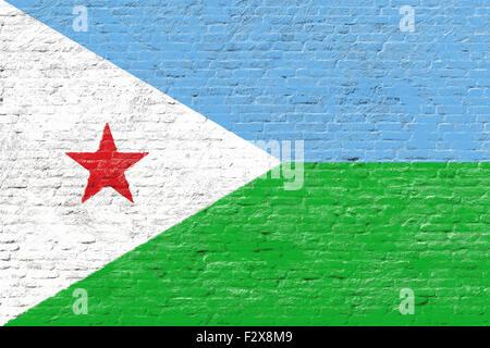 Djbouti - National flag on Brick wall - Stock Photo