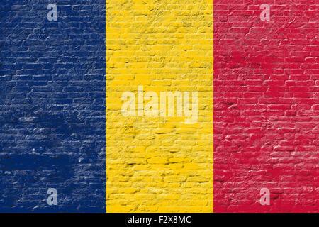 Chad - National flag on Brick wall - Stock Photo