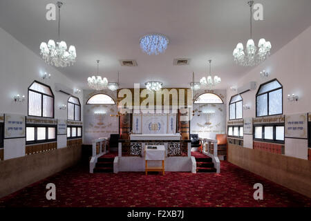 Interior of a Karaite synagogue in the city of Ramle or Ramleh Israel. - Stock Photo