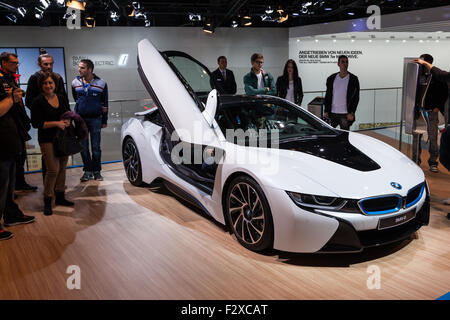 BMW i8 electric sports car at the IAA International Motor Show 2015 - Stock Photo
