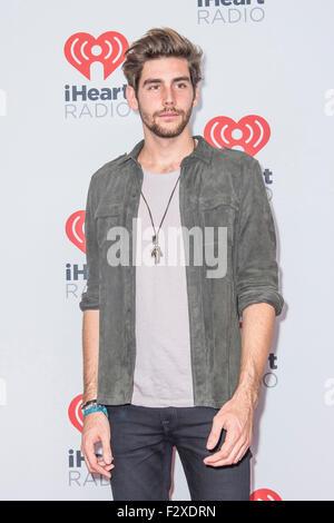 Singer Alvaro Soler attends the 2015 iHeartRadio Music Festival at MGM Grand Garden Arena in Las Vegas - Stock Photo