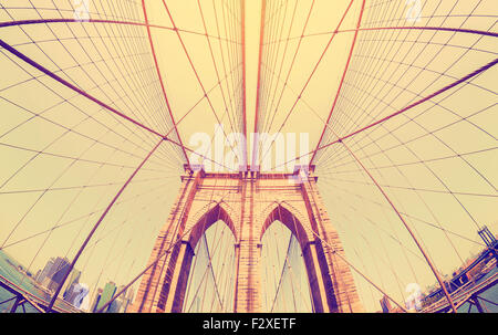 Vintage filtered fisheye picture of Brooklyn Bridge in New York City, USA. - Stock Photo