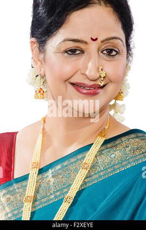 1 indian Marathi Adult Woman diwali Festival - Stock Photo