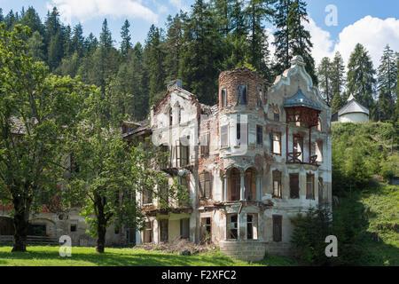 Ruins of San Candido Wildbad Innchen, Sesto Dolomites, nature park, Alps, South Tyrol, Trentino-Alto Adige, Italy - Stock Photo