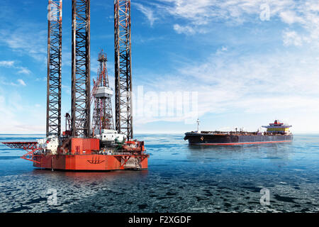Oil Rig and tanker on offshore area at winter.