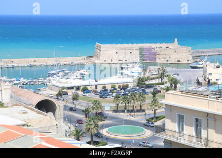 elevated view of the Venetian fortress of Rocca al Mare, in the old port, Heraklion, Crete Island, Greece - Stock Photo