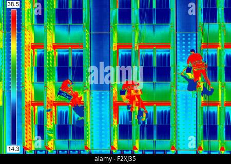 Infrared thermovision image Three climbers wash windows