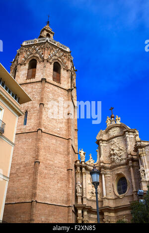 Valencia El Miguelete Micalet in Reina square and Cathedral church - Stock Photo