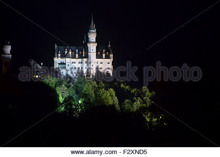 Castle of Neuschwanstein at night in the Bavarian Alps; Germany - Stock Photo
