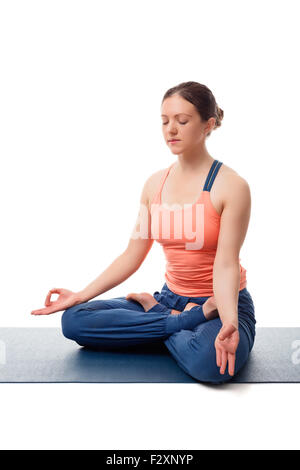 yoga background woman in lotus position meditating on the