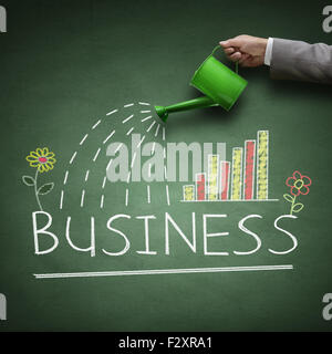 Watering can and word business drawn on a blackboard concept for business growth, investment, savings and making - Stock Photo