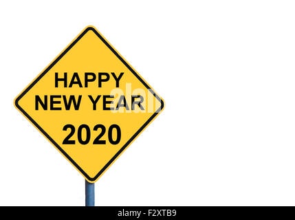 Yellow roadsign with HAPPY NEW YEAR 2020 message isolated on white background - Stock Photo
