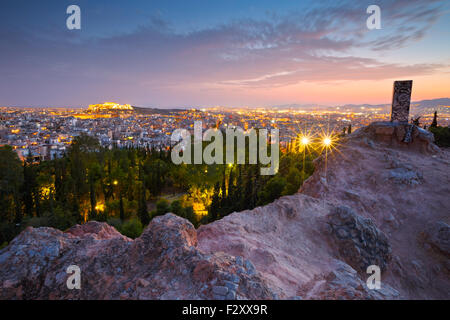 View of Athens and Acropolis from Strefi Hill. - Stock Photo