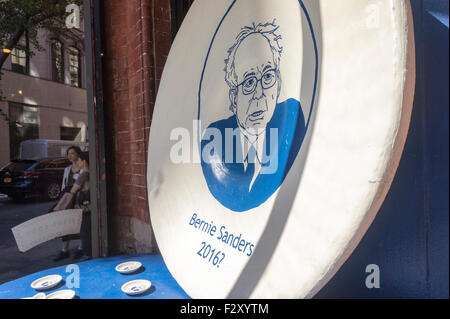 A window display at the Fishs Eddy housewares store in New York celebrates U.S. Presidential Candidate Bernie Sanders. - Stock Photo