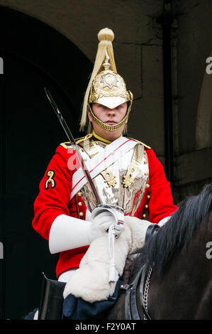 Mounted guard from the household cavalry outside The Household Cavalry Museum Horse Guards Parade Whitehall, London - Stock Photo