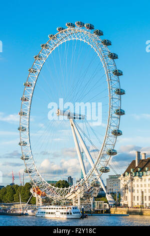 The London Eye is a big ferris wheel carousel on the South Bank of the River Thames London England GB UK EU Europe - Stock Photo