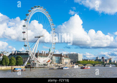 The London Eye on the South Bank of the River Thames London England GB UK EU Europe - Stock Photo